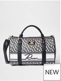 river-island-monogram-barrel-bag-black