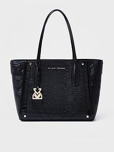 river-island-rue-saint-dominique-x-river-island-faux-croc-shopper-black
