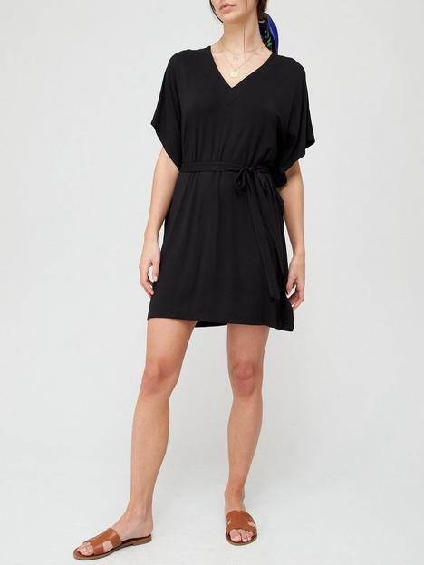 v-by-very-channel-waist-mini-dressnbsp--black