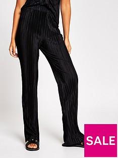 river-island-plisse-kick-flare-trouser-black