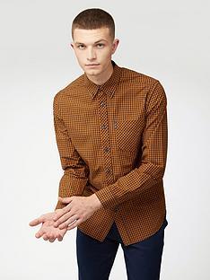 ben-sherman-long-sleeve-signature-gingham-shirt-gold