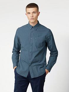 ben-sherman-long-sleeve-signature-gingham-shirt-sea