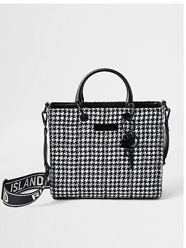 river-island-check-medium-quilted-tote-bag-black-print