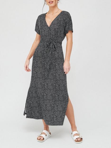 v-by-very-jersey-wrap-midi-dress-black-spot