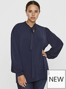 junarose-carrie-ls-tie-neck-blouse-navy