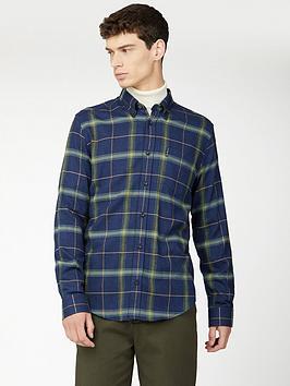 ben-sherman-ben-sherman-long-sleeve-oversized-herringbone-check-shirt-green