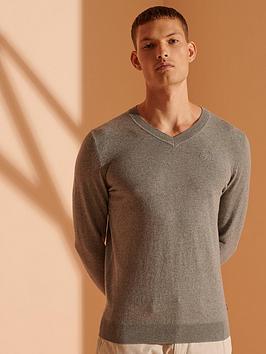 Superdry Orange Label V-Neck Jumper - Grey Marl, Grey Marl, Size S, Men
