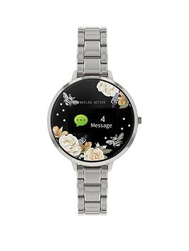 reflex-active-reflex-active-series-3-smart-watch-with-floral-detail-colour-screen-crown-navigation-and-stainless-steel-bracelet-strap