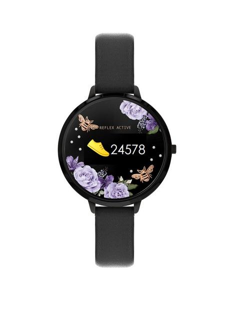 reflex-active-reflex-active-series-3-smart-watch-with-floral-detail-colour-screen-crown-navigation-and-black-strap