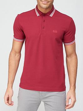 Boss Paddy Tipped Collar Polo Shirt - Burgundy, Burgundy, Size Xl, Men