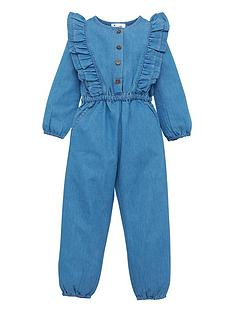 mini-v-by-very-girls-woven-ruffle-front-long-sleeve-jumpsuit-blue