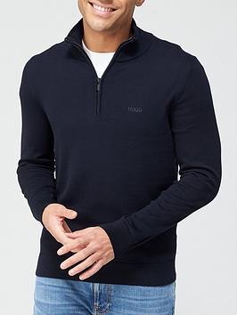 hugo-san-quintus-quarter-zip-knitted-jumper-navy