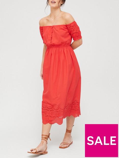 v-by-very-broderie-sleeve-bardot-dress-red
