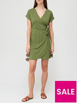 v-by-very-jersey-wrap-mini-dress-khakinbsp