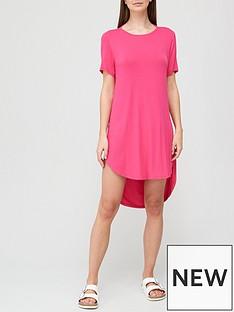 v-by-very-cowl-back-longline-beach-t-shirt-bright-pink