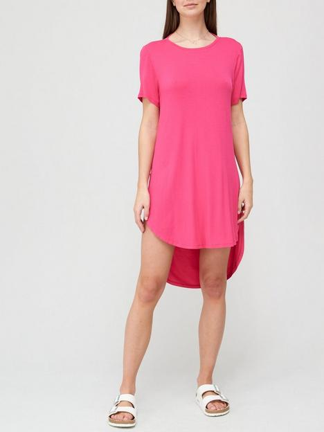 v-by-very-cowl-back-neck-tee-dress-bright-pink