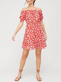 v-by-very-bardot-mini-dress-red-print