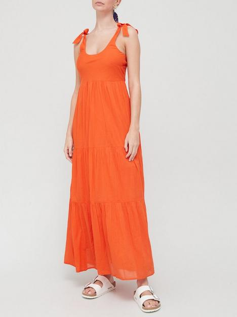 v-by-very-tiered-cotton-midi-dress-orange