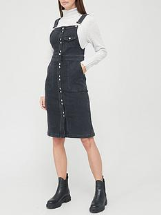 v-by-very-denim-button-through-pinny-dress-black