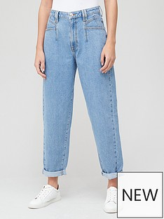 v-by-very-high-waist-pleat-top-slouch-jean-mid-wash