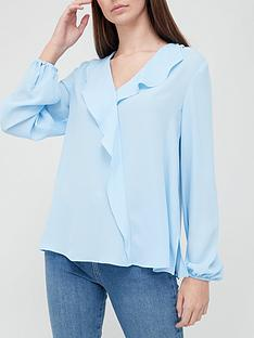 v-by-very-open-collar-frill-blouse-blue