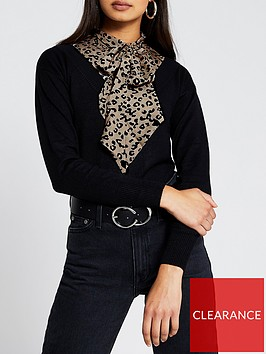 river-island-leopard-print-bow-knit-jumper-black