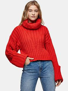 topshop-turnback-cuff-jumper-red