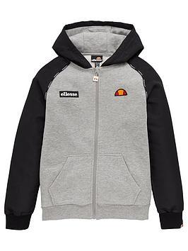 ellesse-boys-drone-junior-zip-hoodie-grey
