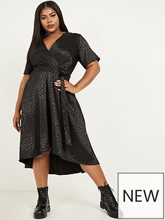 quiz-curve-leopard-jacquard-satin-wrap-midi-dress-black
