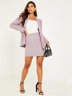 quiz-check-puff-sleeve-blazer-jacket-pink