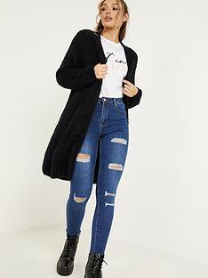 quiz-fuzzy-knit-long-sleeve-long-cardigan-black