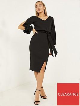 quiz-scuba-crepe-split-sleeve-wrap-dress-black