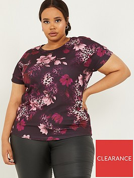 quiz-curve-animal-and-floral-print-boxy-top-berry