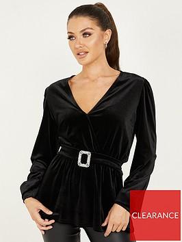 quiz-velvet-wrap-front-embellished-buckle-peplum-top-black