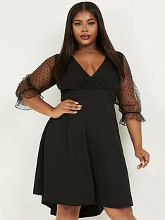 quiz-curve-spot-organza-sleeve-wrap-dip-hem-skater-dress-black