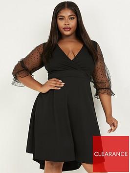 quiz-curve-spot-organza-sleeve-wrap-dip-hem-skater-dress-black