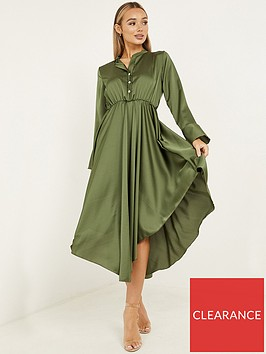 quiz-satin-hanky-hem-long-sleeve-button-dress-khaki