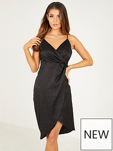 quiz-satin-v-neck-wrap-skirt-strappy-midi-dress-black