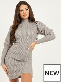 quiz-puff-sleeve-knit-jumper-dress-grey