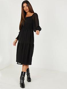quiz-shirred-long-sleevenbspmidaxi-dress-black