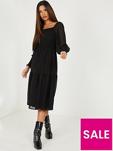 quiz-shirred-long-sleevenbspmidaxi-dress-black