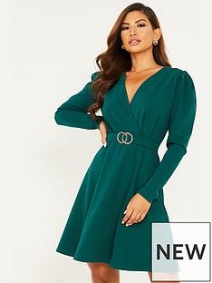 quiz-gold-buckle-skater-dress-green