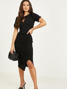 quiz-ruched-keyhole-midi-dress-black