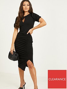 quiz-ruched-keyhole-midi-dress-black
