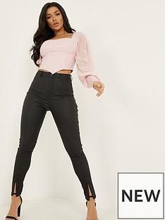 quiz-punbspskinny-stretch-split-front-zip-detail-trouser-black