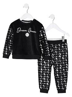 river-island-mini-mini-girls-velour-foil-pyjamas-black