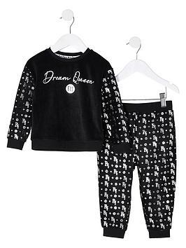 river-island-mini-mini-girls-velour-foil-pyjamas-black