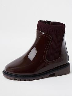 river-island-mini-mini-girls-knitted-chunky-boot--nbspburgundy