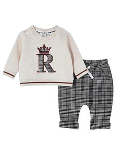 river-island-mini-baby-boys-check-trouser-and-sweat-set--nbspbeige