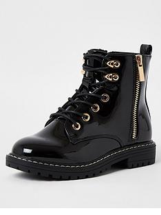 river-island-girls-patent-chunky-lace-up-boot--nbspblack